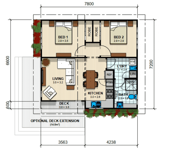 Bentleigh 2 bed Floor Plan