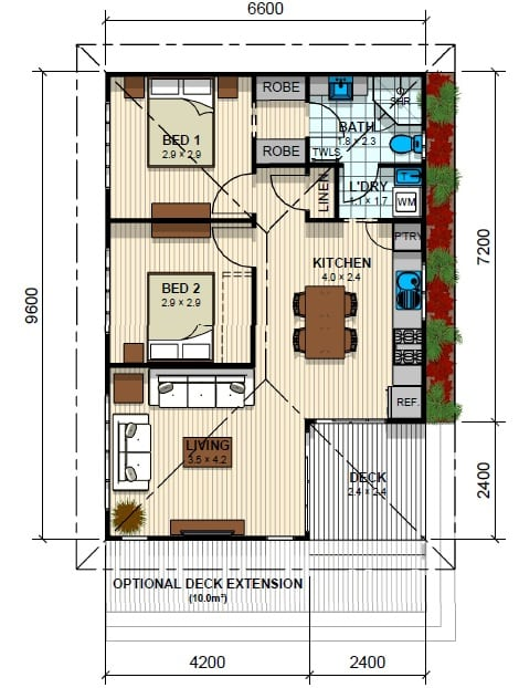 Flemington 2 Bed Floor Plan