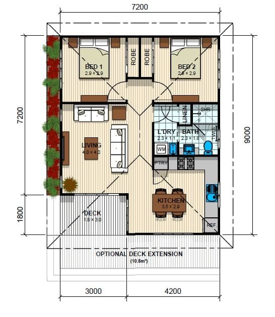 Kensington 2 Bed Floor Plan